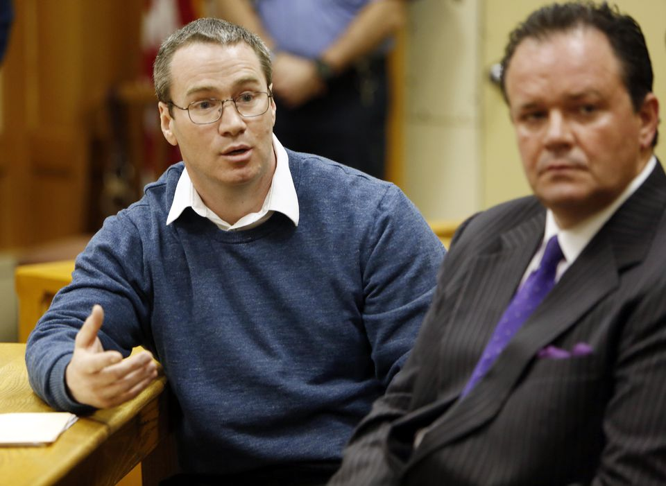 Patrick Randall, left, with his attorney Mark Stevens, during his parole hearing Thursday.
