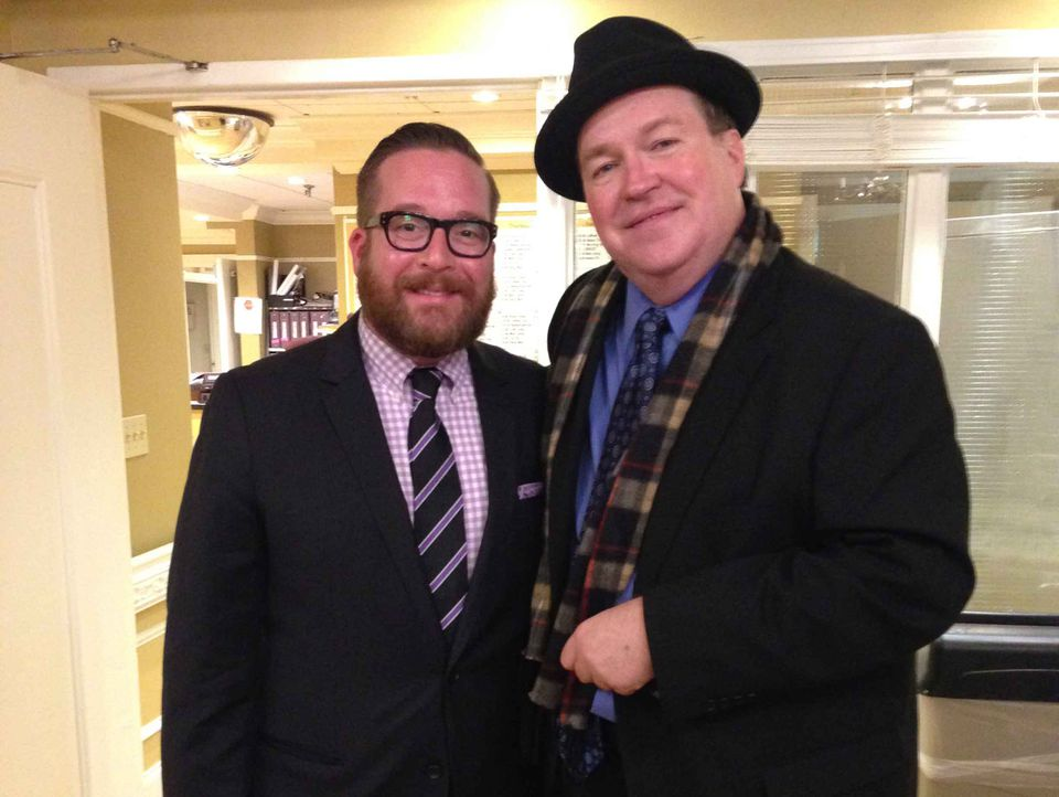 """Abuse survivor Joe Crowley, right, with Michael Cyril Creighton, the actor who plays him in """"Spotlight."""""""