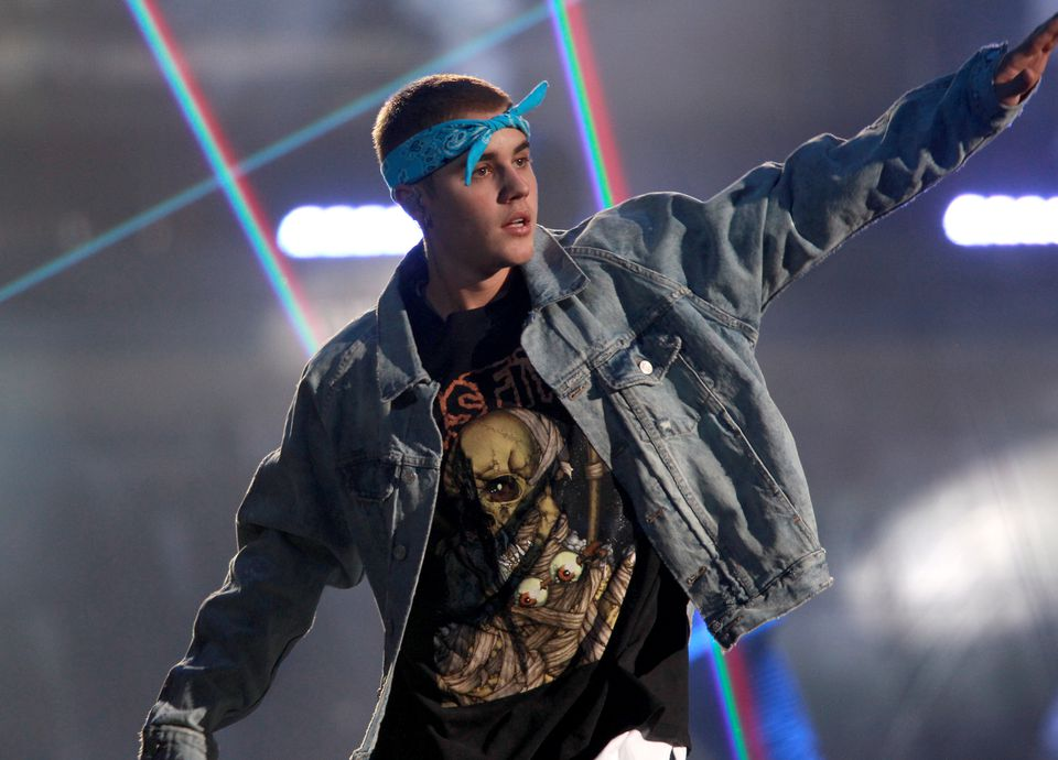 Justin Bieber performing at the TD Garden.