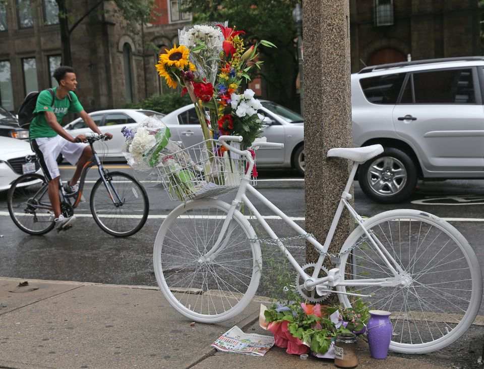 After Dr. Anita Kurmann's death, a ghost bike was left at Massachusetts Avenue and Beacon Street, where she died.