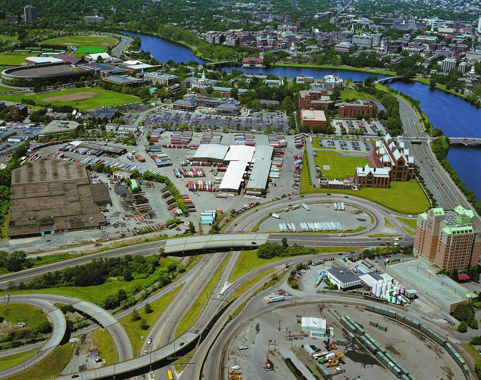 An aerial photo shows Beacon Yards and the Harvard Business School in Allston.