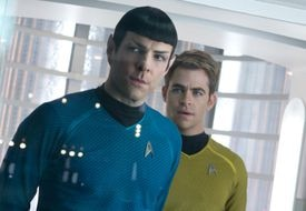 "Zachary Quinto (left) as Spock and Chris Pine as Captain Kirk in ""Star Trek Into Darkness."""