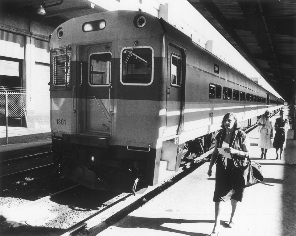 MBTA commuter trains in South Station.