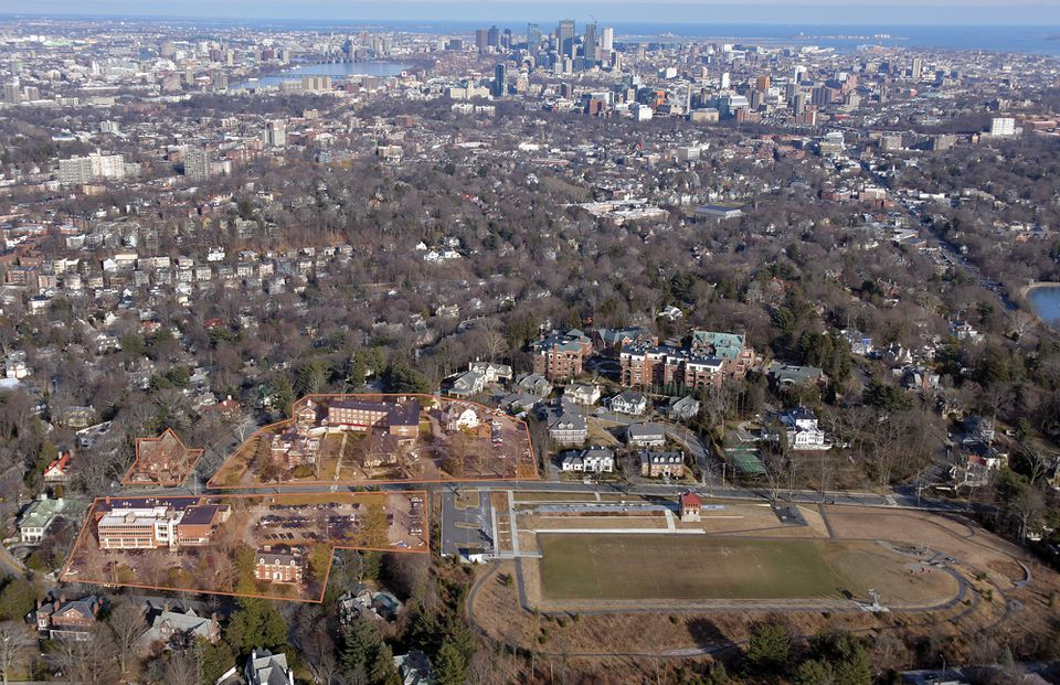 An aerial view of Newbury College.