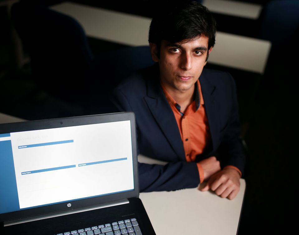 Rishabh Bahl, cofounder of TechWiss, at his office.