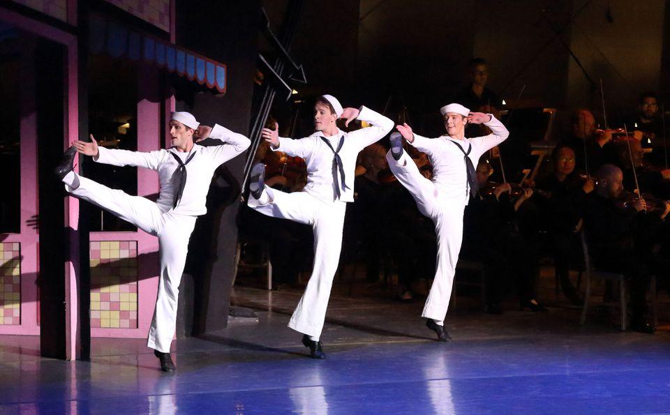 "Boston Ballet members Patric Palkens, Paul Craig, and Isaac Akiba perform Leonard Bernstein's ""Fancy Free"" at Tanglewood on Saturday night."