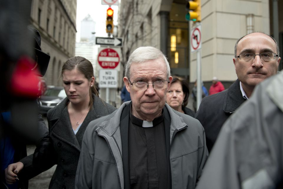 Monsignor William Lynn, a former church official jailed for his handling of priest sexual-abuse complaints, emerged from a bail hearing in Philadelphia in 2014.