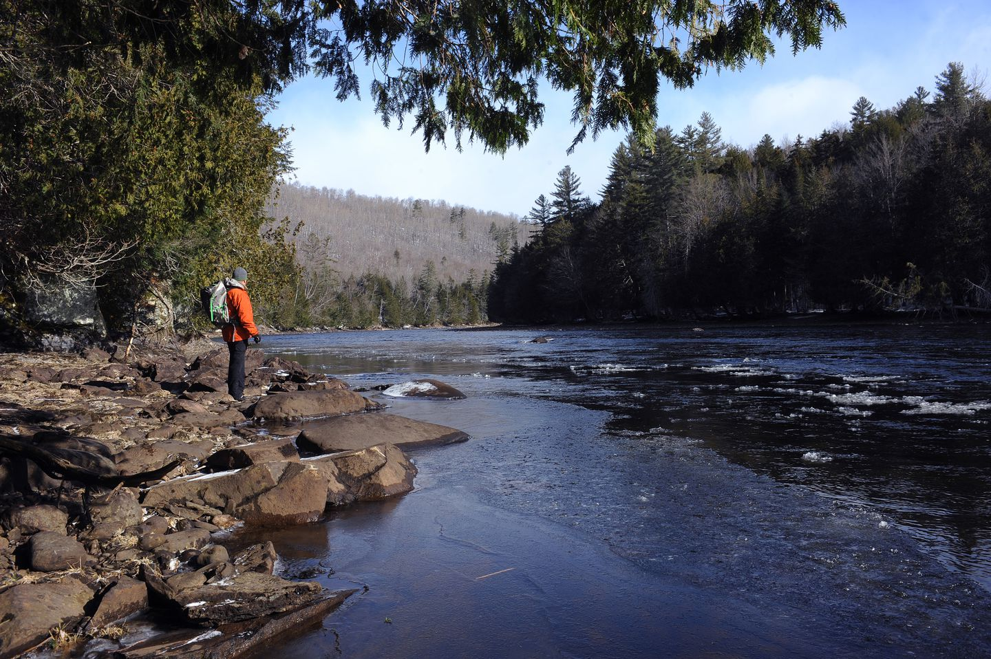 Russell Walters stood by the Kennebec River. A proposed hydropower line would cross over the Kennebec River Gorge.