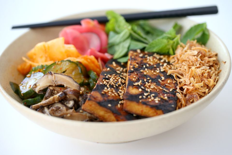 Rice bowl with charred Heiwa tofu at Little Big Diner in Newton.