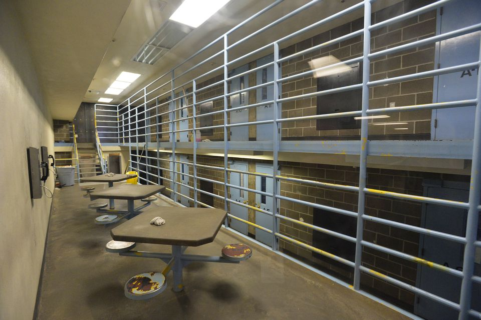 A maximum security cell block at the Whatcom County Jail in Bellingham, Wash.