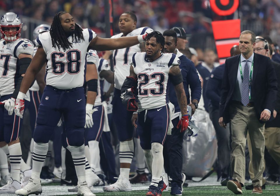 Patrick Chung (23) was injured in the third quarter.