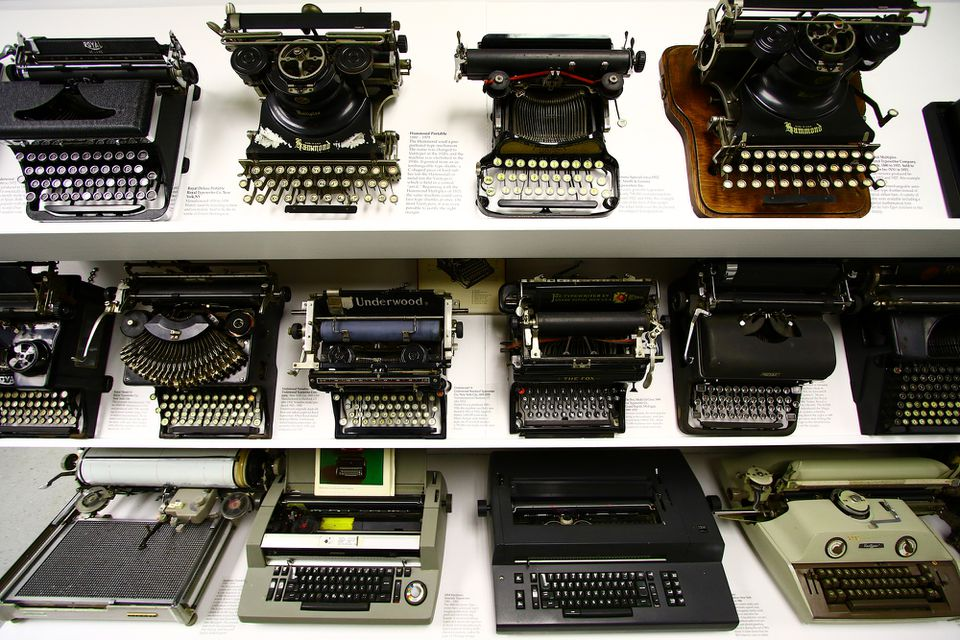 The museum's collection of vintage typewriters.