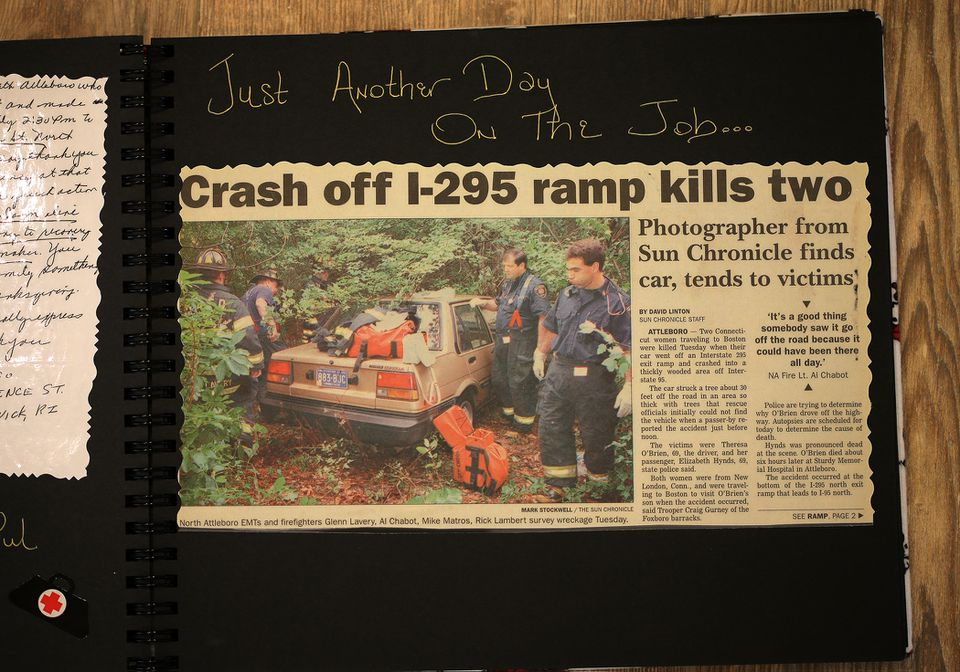 """A newspaper story and photo from Captain Rick Stack's scrapbook attests to the difficult scenes he has witnessed. His wife wrote """"Just another day on the job..."""" in the book."""