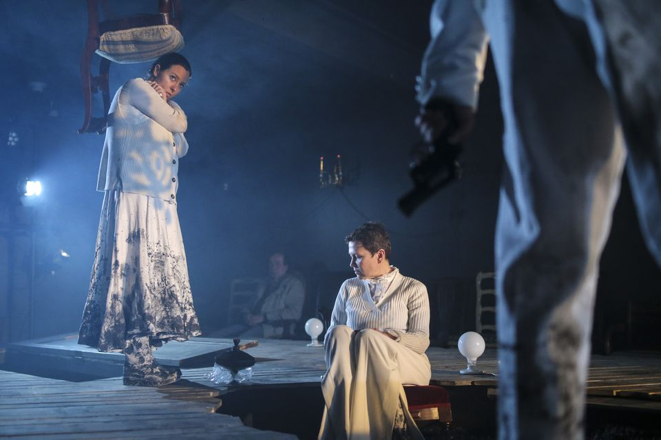 """A scene from Arlekin Players' production of """"The Stone."""""""
