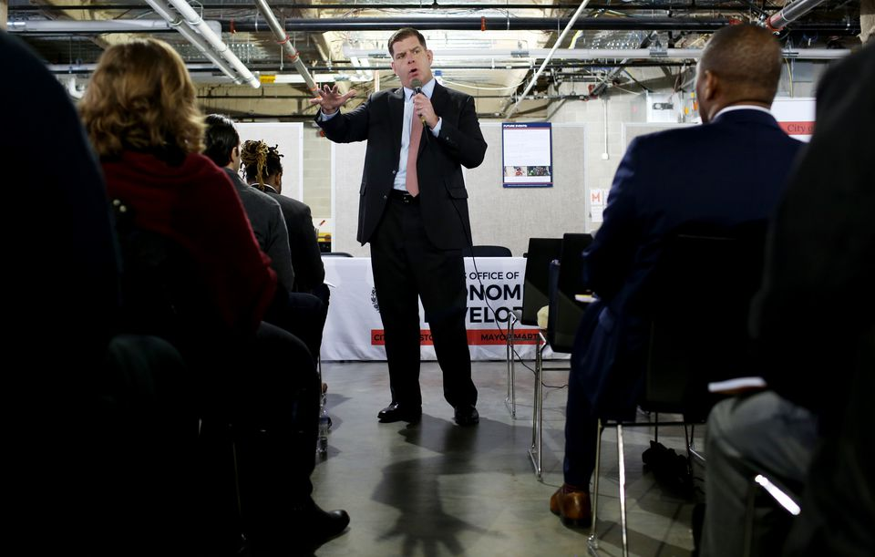 Mayor Martin Walsh, shown speaking at the economic development program, is pushing for small businesses.