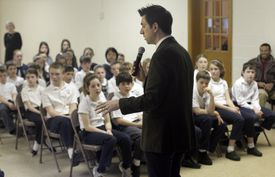 Jarrett Krosoczka spoke with students at the St. John School in Wellesley in March. He visits about 70 schools a year to encourage students to use their imaginations.