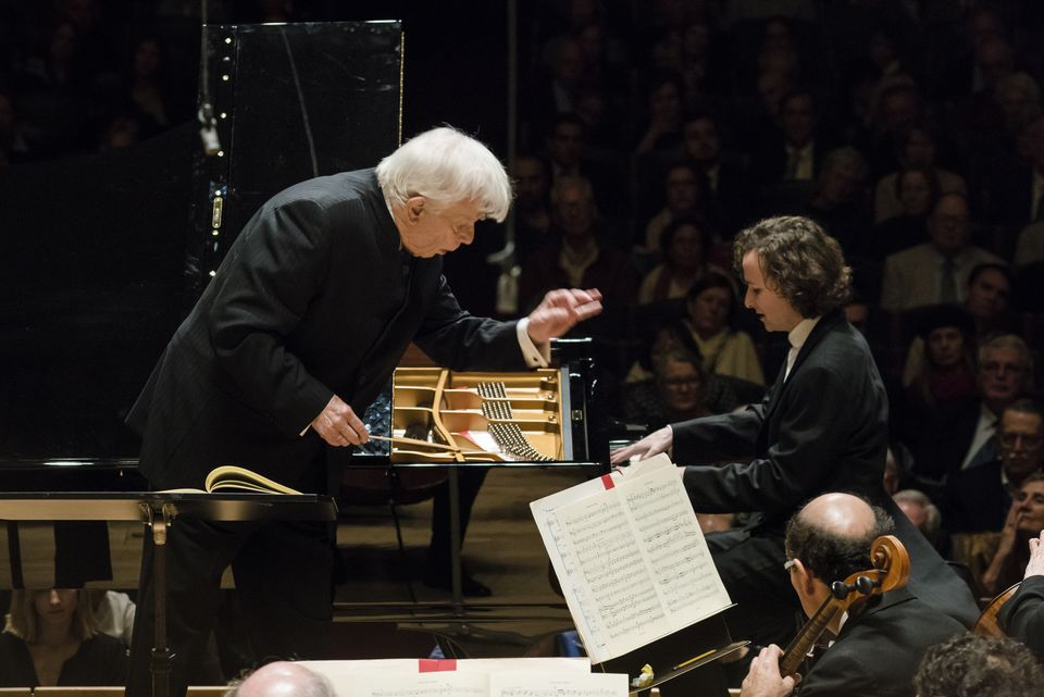 Christoph von Dohnanyi with pianist Martin Helmchen performing with the BSO on Thursday.