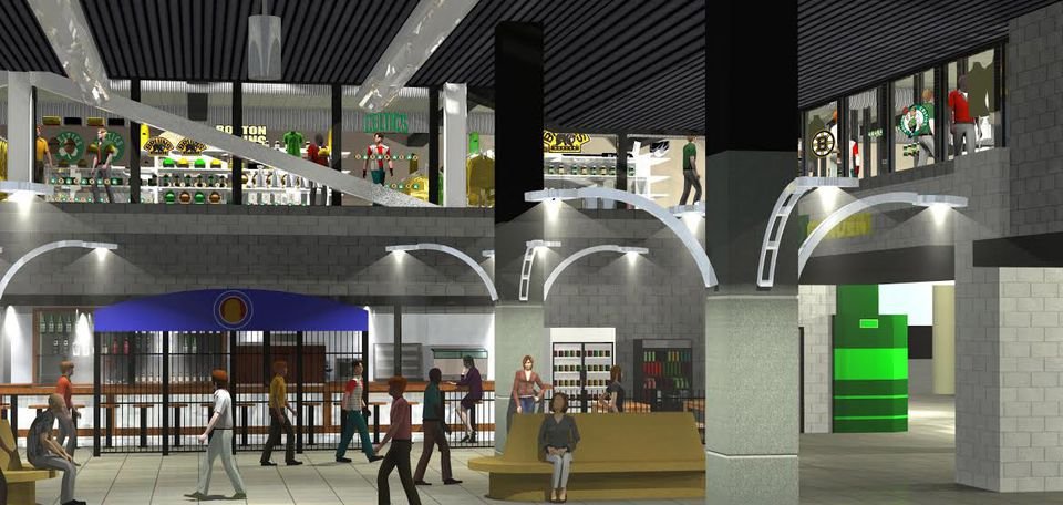 An artist's rendering of what the TD Garden pro shop would look like after the planned renovations.