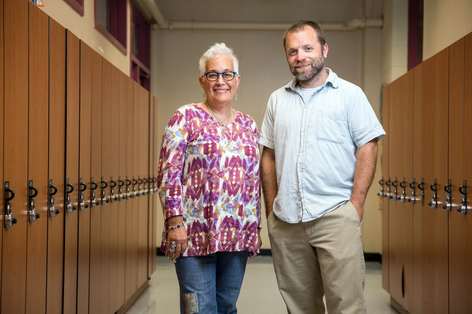 Muniz headmaster Dania Vazquez and assistant headmaster Dan Abramoski say supporting the use of Spanish helps immigrant learners build confidence.