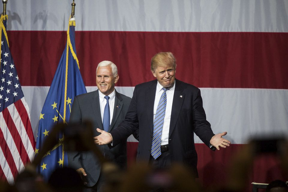 Donald Trump, the presumptive Republican presidential nominee, with Indiana Governor Mike Pence.