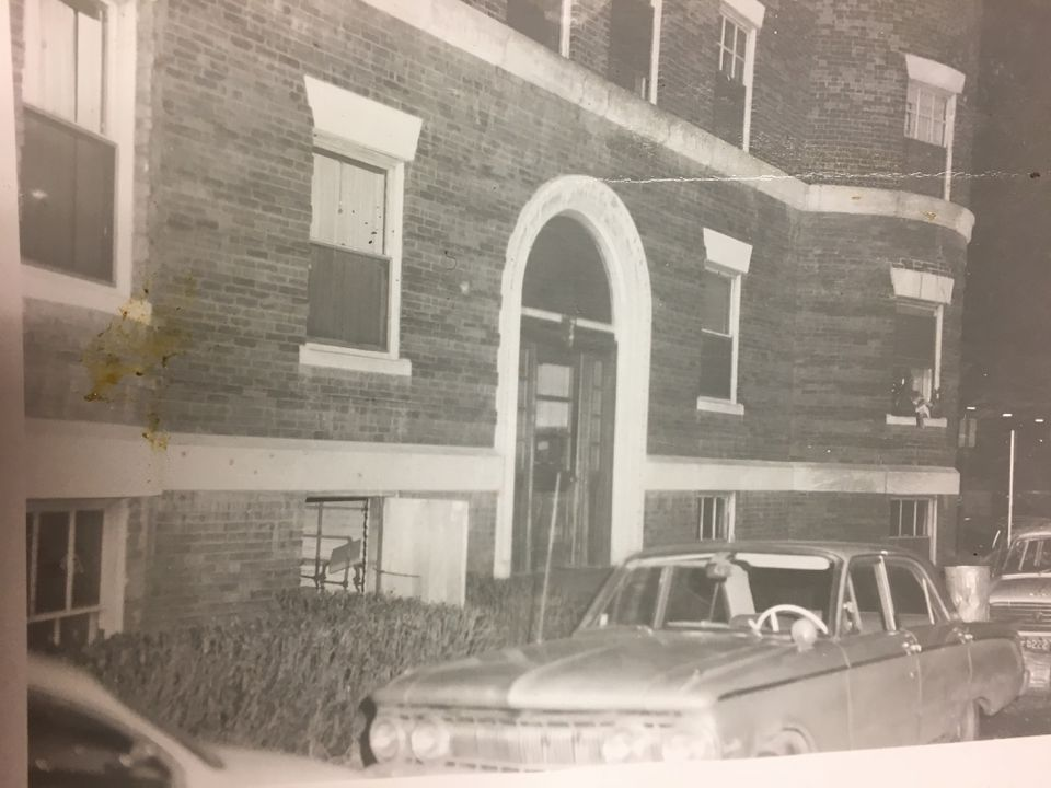 This police photo shows the outside of Jane Sanders Britton's apartment building near Harvard Square shortly after she was found dead in January 1969.