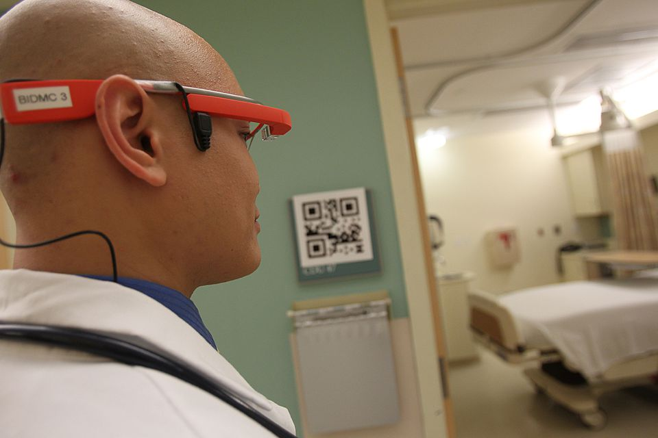 Dr. Steven Horng shows Google Glass that he and other doctors will use to read patient records.