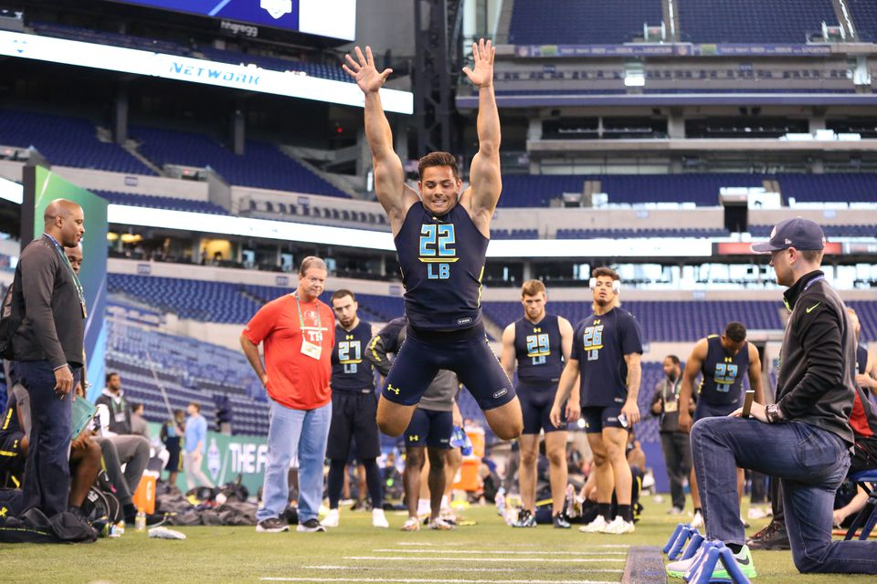 BC linebacker Matt Milano competed in the broad jump at the NFL Scouting Combine in March.