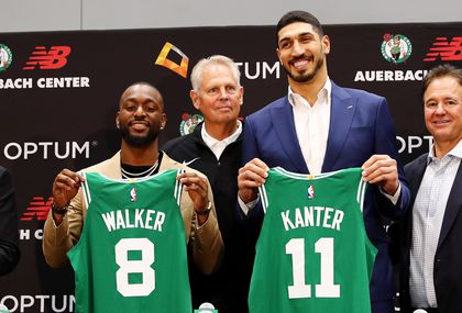 51332ccc0337b Kemba Walker, left, and Enes Kanter revealed their Celtics jersey at their  introductory press