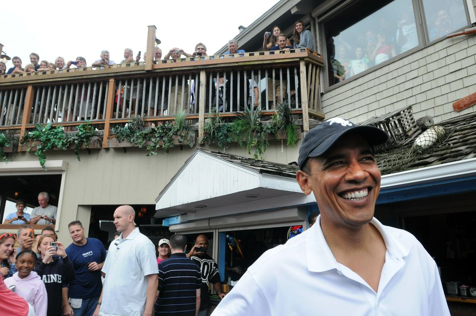 Former President Barack Obama goes to lunch at Nancy's Restaurant while vacationing on Martha's Vineyard with his family in 2010.
