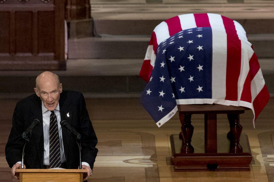 Former senator Alan Simpson, a Wyoming Republican, spoke about George H.W. Bush.