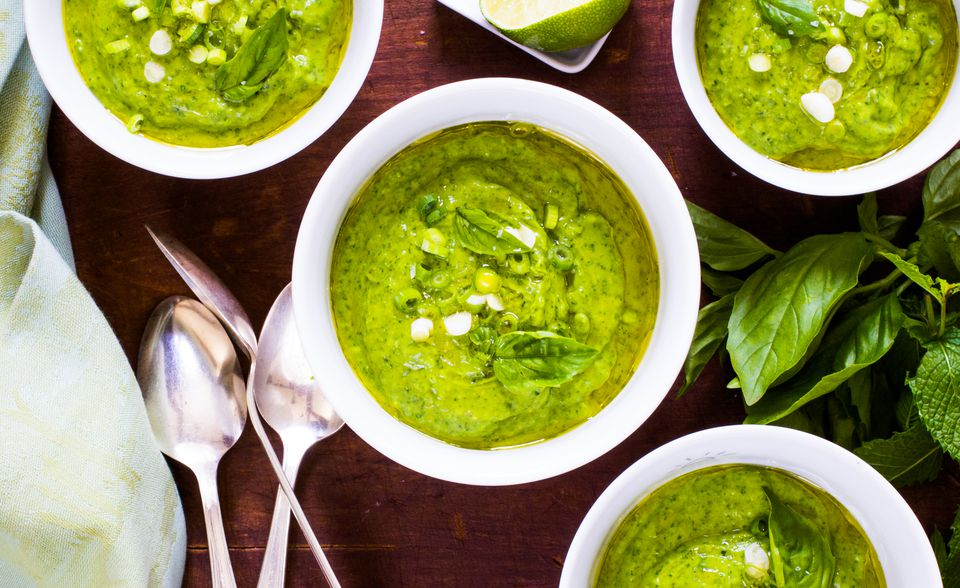 Green gazpacho with cucumbers, spinach, and avocado