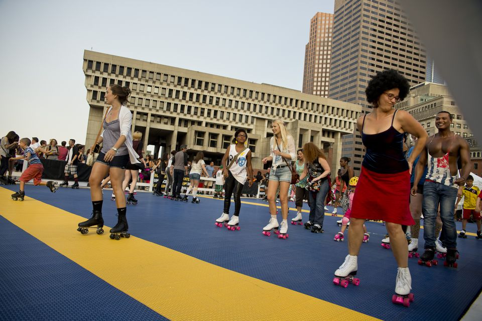 "Hundreds of skaters came to City Hall Plaza for the ""Roller Disco Tribute Party,"" which commemorated Donna Summer."