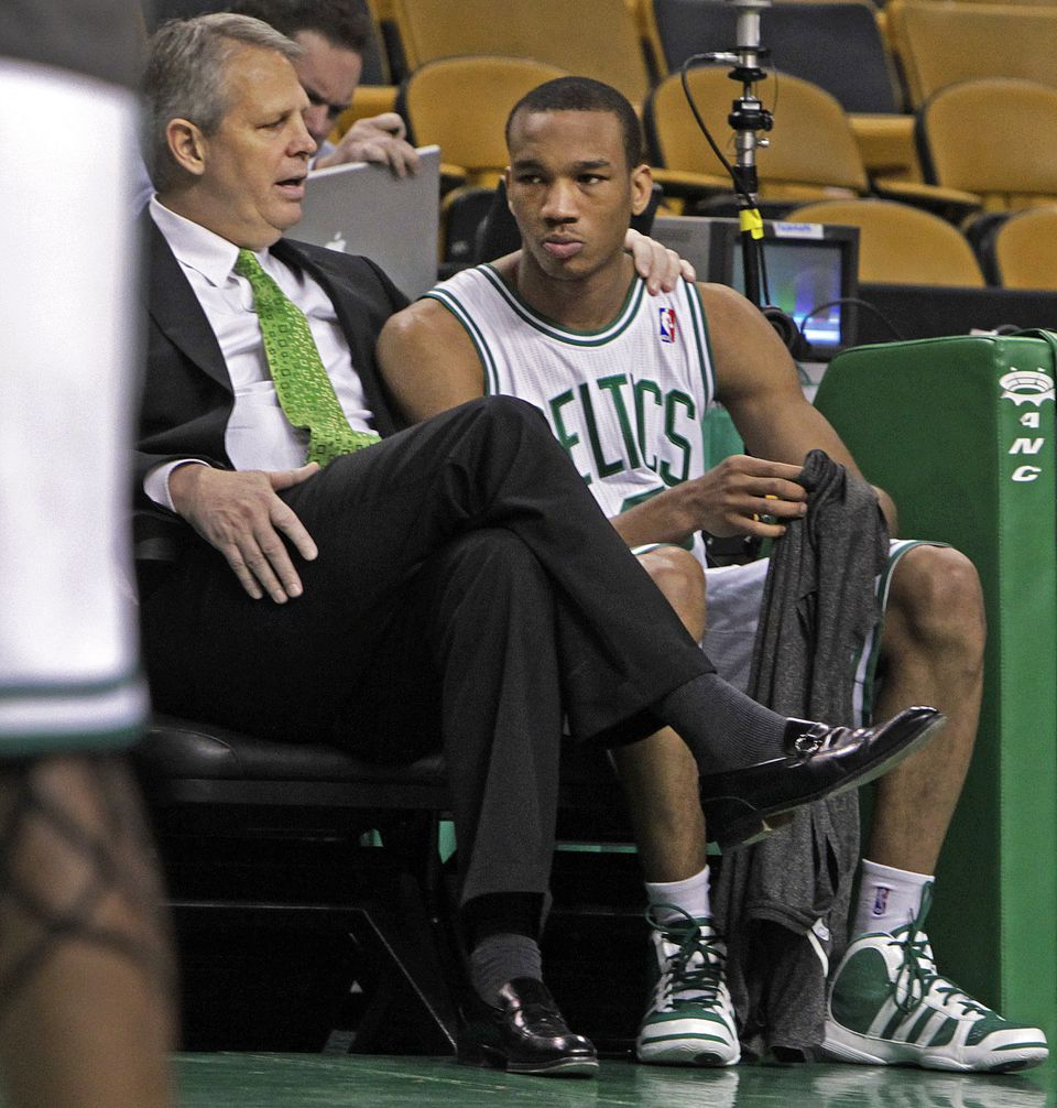 Ainge's connection with players is unusually good for an NBA general manager, says Avery Bradley, pictured with Ainge in 2011, during the Celtics guard's rookie season.