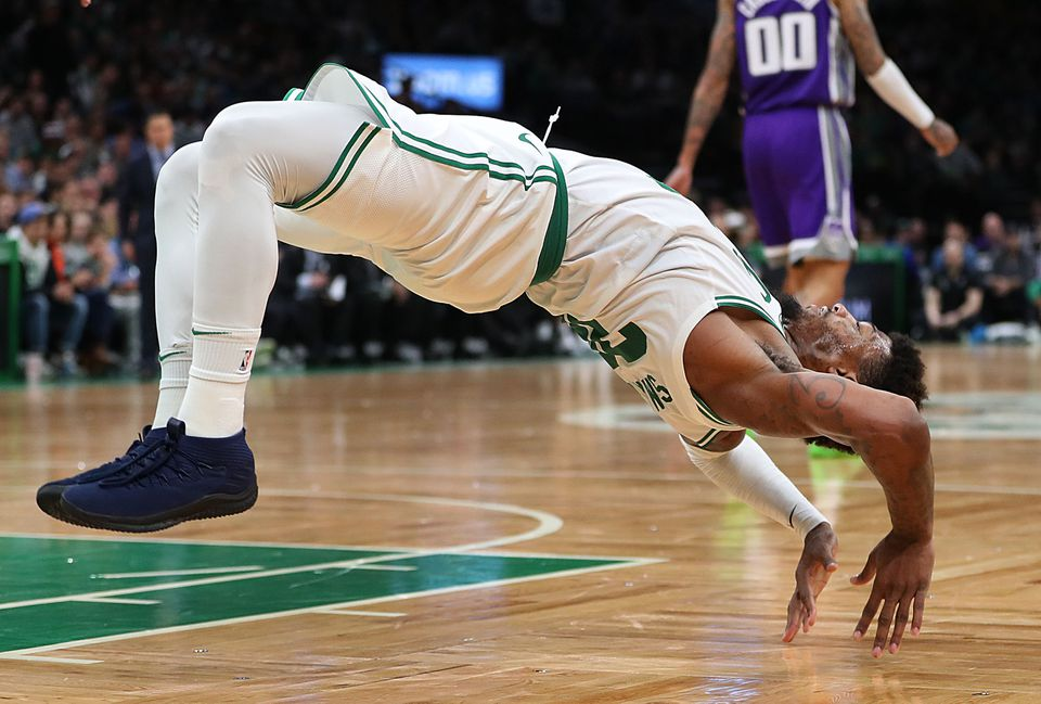 Marcus Smart had plenty of get-up-and-go while getting up after hitting the deck.
