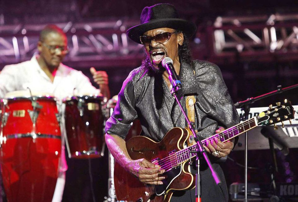 Chuck Brown performed with his band in 2011 at the 20th St. Lucia Jazz Festival in Pigeon Island, Calif.