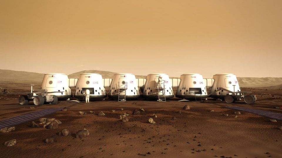 A rendering of Mars One's proposed Mars colony.