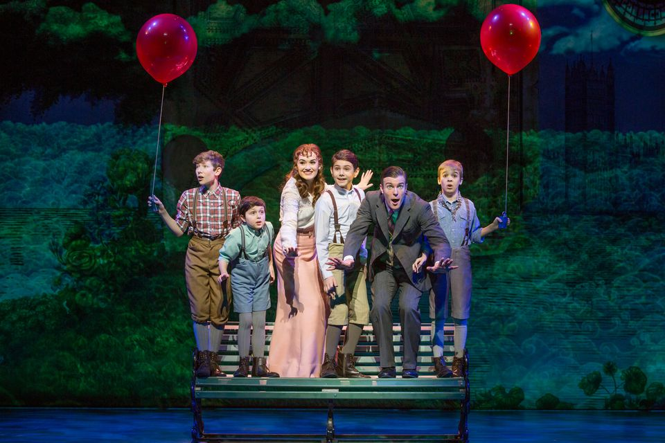 "Christine Dwyer (third from left) and Billy Harrigan Tighe (second from right) lead the cast of ""Finding Neverland."""