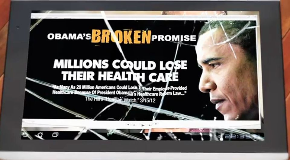 A Crossroads GPS ad shows images of President Obama behind a broken tablet screen.