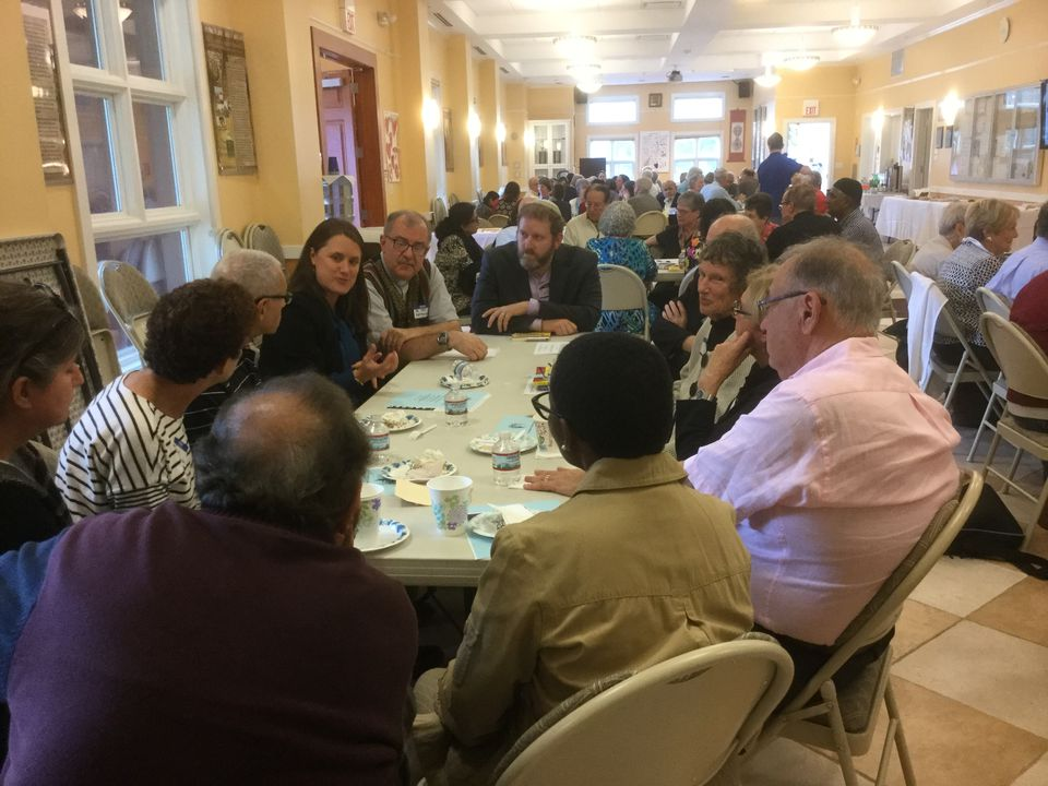 A table discussion at the most recent Interfaith Community Discussion at the Islamic Center of Boston in October. Another  such event is planned for March 4 at the Wayland center.