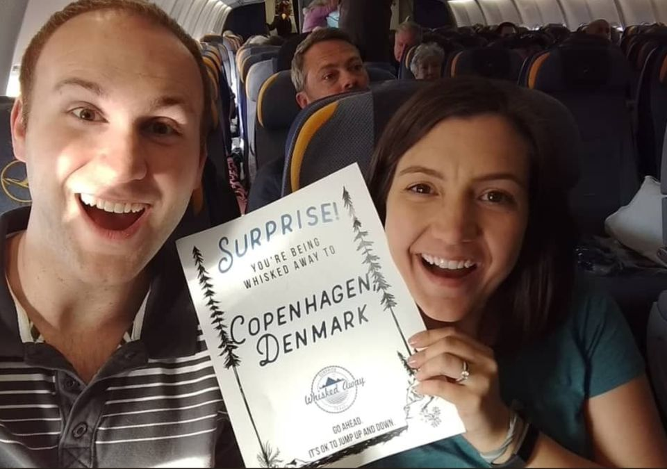 Jess and Kim Lawrence played travel roulette for their honeymoon, discovering at the airport that they were going to Copenhagen.
