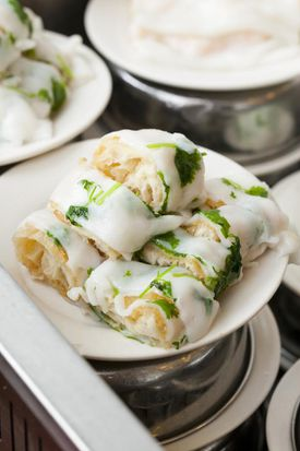 Hei La Moon's dim sum offerings include fried dough wrapped in rice noodle.