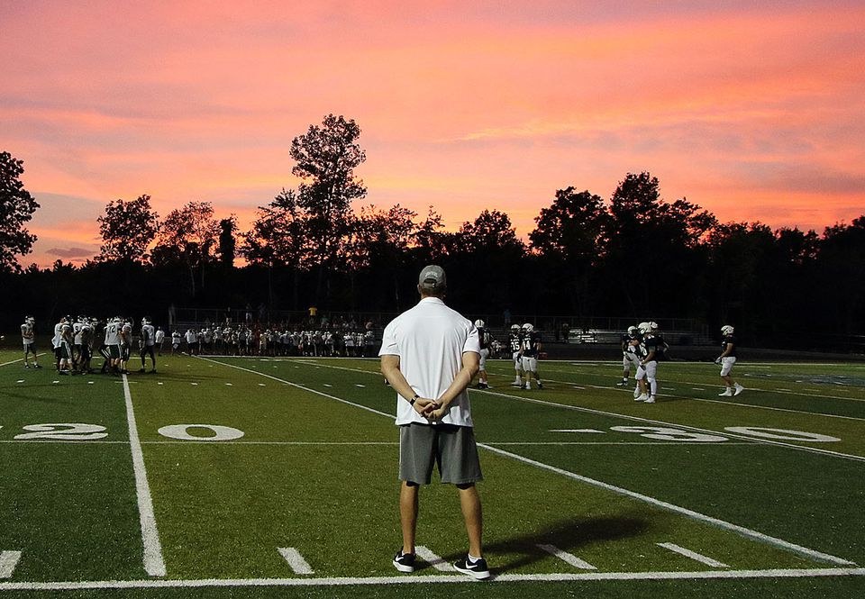 St. John's Prep coach Brian St. Pierre watches his team scrimmage against Billerica.