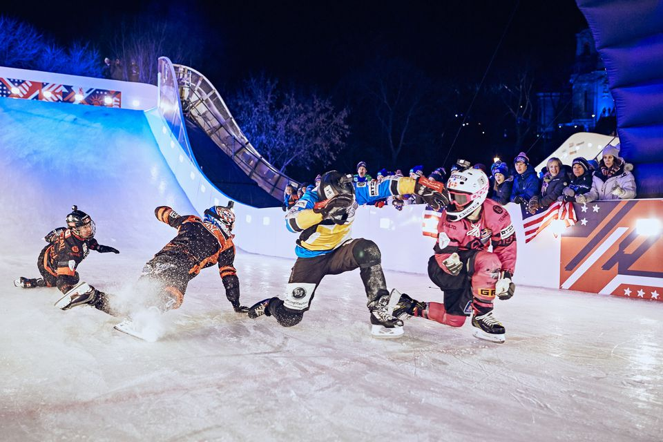 Four racers compete at a time in ice cross downhill.