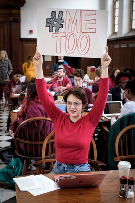 At Winthrop House's dining hall on Friday, students protested a law professor's defense of Harvey Weinstein.