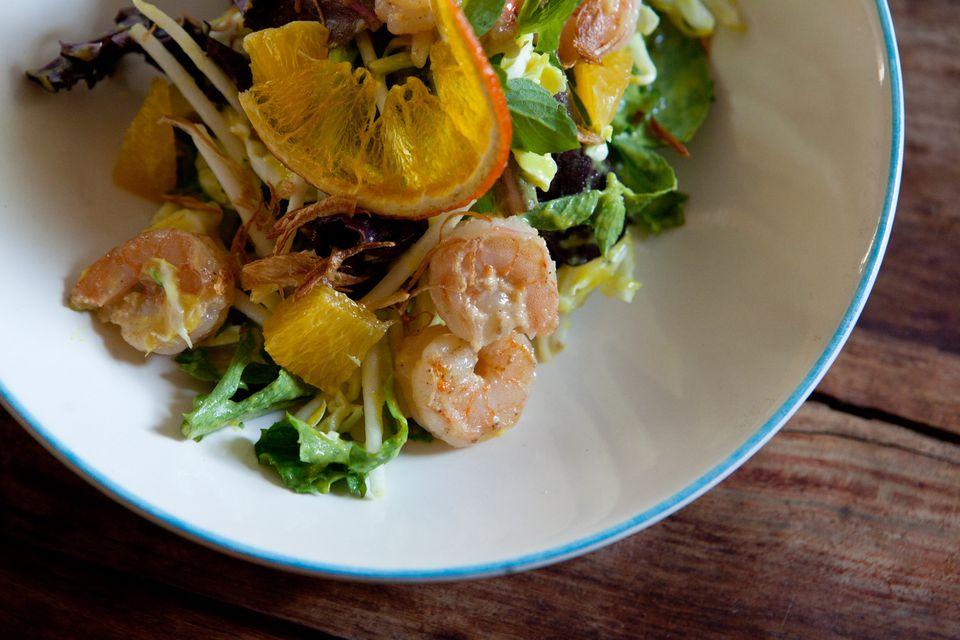 Retno Pratiwi's shrimp salad with spiced pineapple dressing.