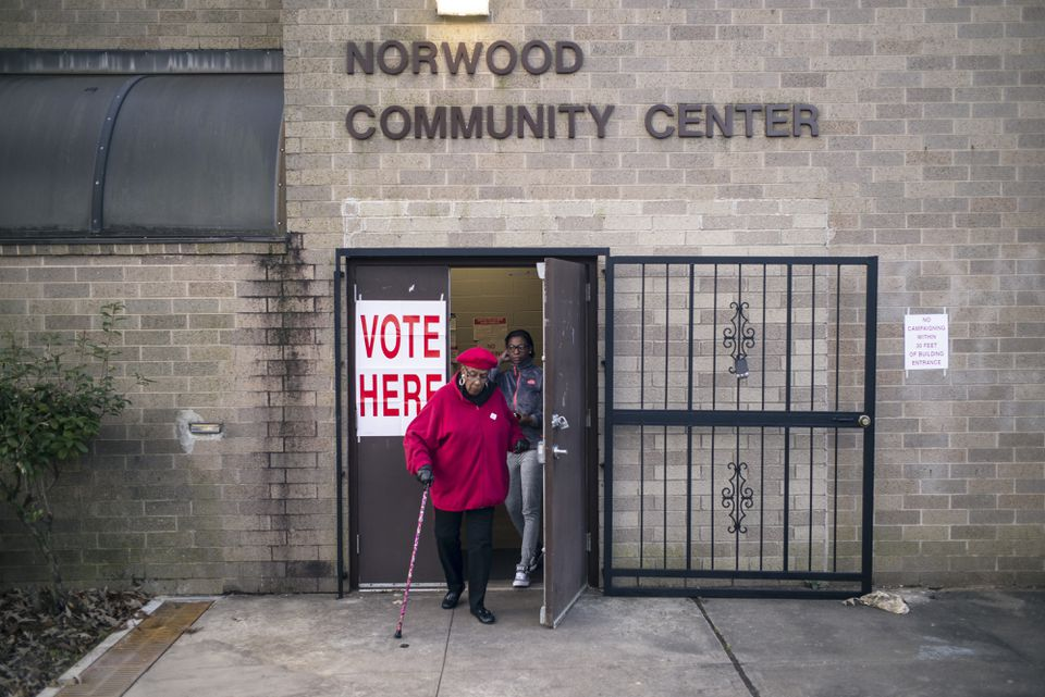 Voters exited a polling station at the Norwood Community Center in Birmingham, Ala., Tuesday.
