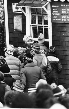 In lift lines from the 1940s, to the '70s (above), to today, resorts have tried to catch customers trying to get out of paying the right amount to ski.