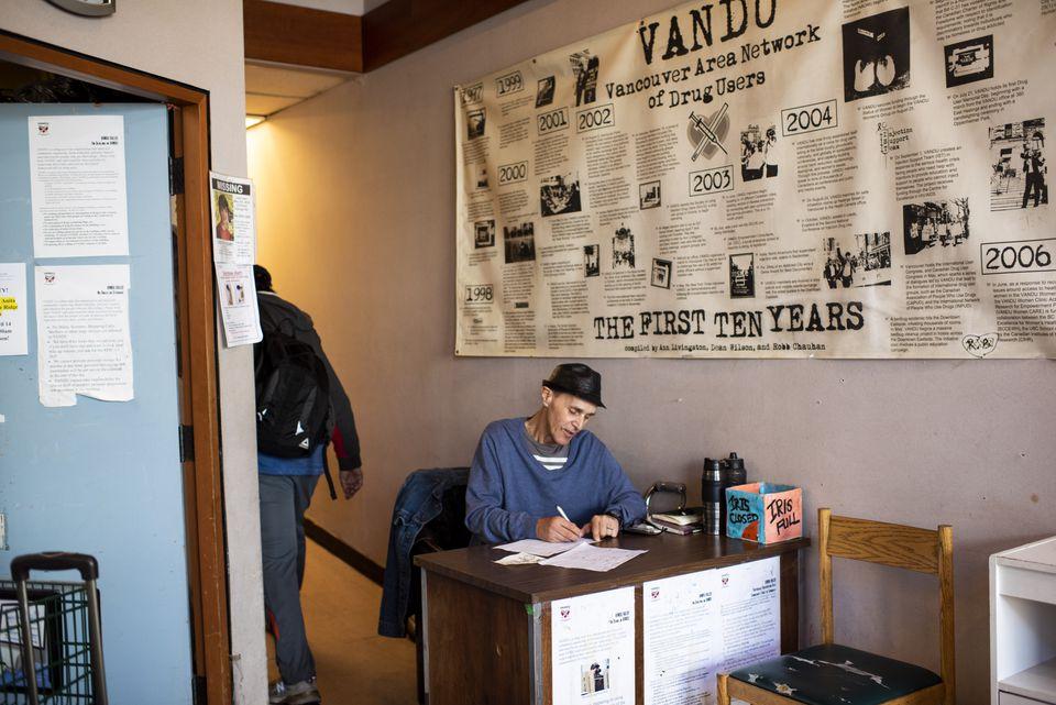 Dean Benton volunteered at the reception desk at VANDU, one of Vancouver's safe-injection sites.