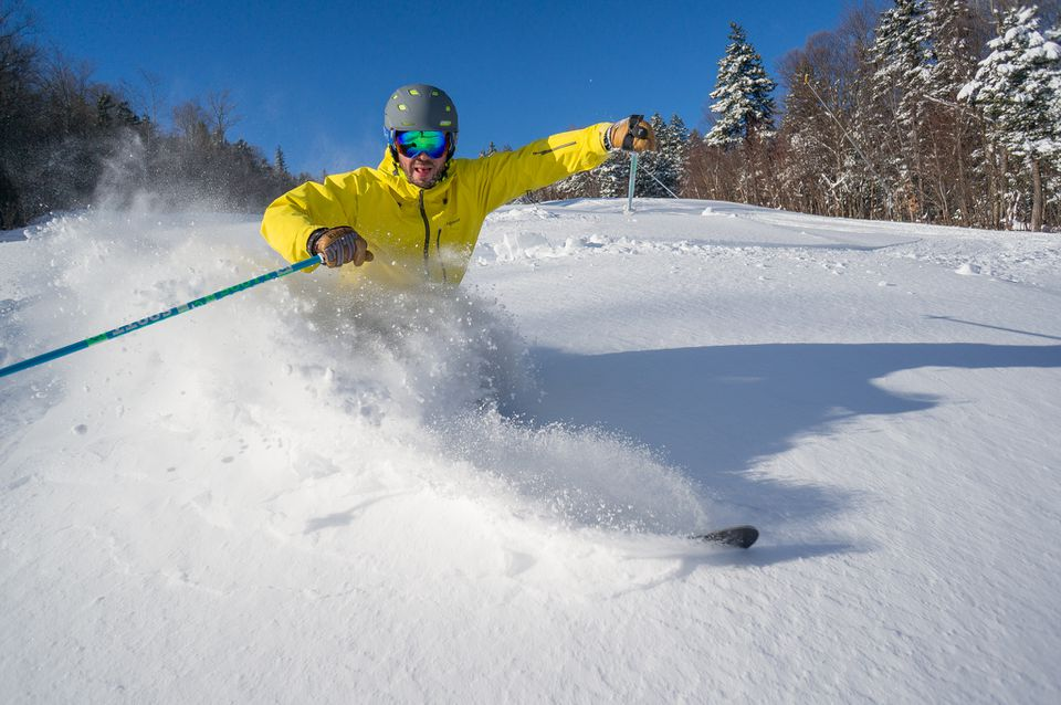 A skier busts along early season snow at Sunday River in Newry, Maine. Photos courtesy of Sunday River.
