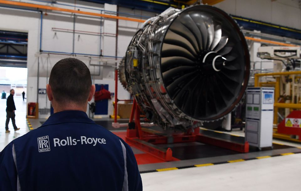 A Rolls Royce Trent XWB engine on the assembly line at the Rolls Royce factory in Derby, central England. Rolls Royce said Thursday it's moving the design approval for large jet engines to Germany to ensure it can continue operating whatever the Brexit outcome.